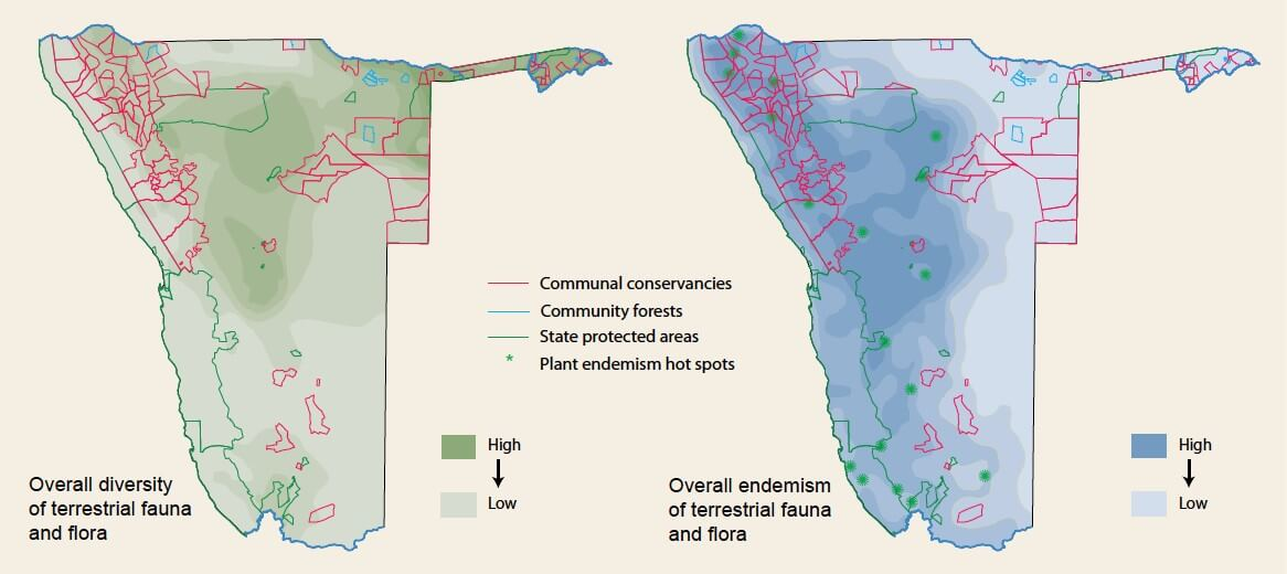 Biodiversity and endemism maps