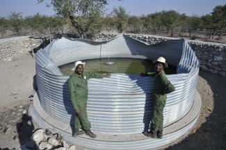 Elephant damage to a water tank