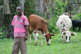 Farmer Simushi Mbanga lost a leg and an arm to a hippo in his field